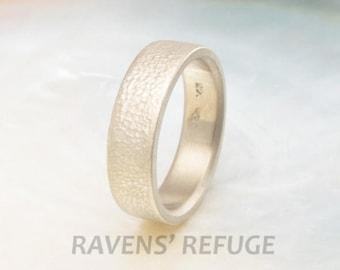textured men's wedding band in palladium white gold -- matte wedding ring -- 6mm wide, leaf pattern