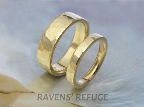 Comfort Fit Custom Wedding Bands Wedding Ring Set Hammered Etsy