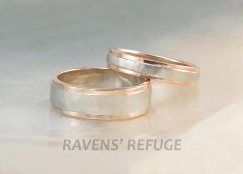 6dc9b310f6c83 rose gold and white gold wedding band set -- hammered two tone wedding  rings with step-down edges