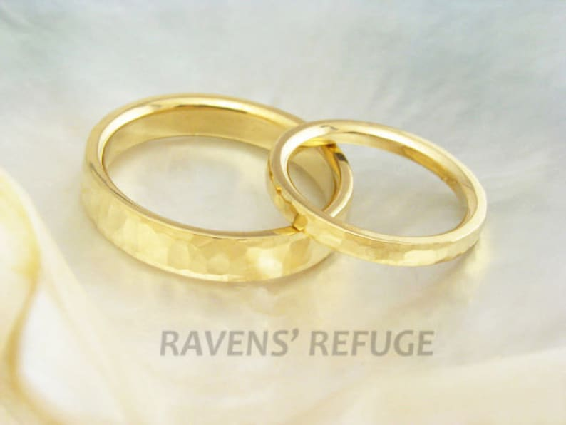 Wedding Ring Set In 21k Solid Yellow Gold Hand Forged And Etsy