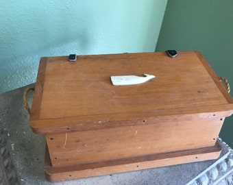 Nautical 1950's  wood box with whale
