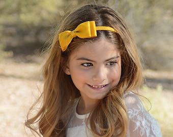 Mustard Yellow Headband/First Day Of School Uniform Mustard Gold Headband/Girls Headbands/Mustard Hair Bow Headband/Gold Hairbows/Hair Band
