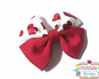 Valentines Day Hair Bow/Preschool Valentine Day Hair Bows for Girls/Red Pinwheel Hairbows/Baby Bows/Baby Head Bows/Red Hearts Boutique Bow