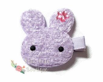 Lavender Plush Bunny Hair Clip/Baby Girl Barrette/Baby Hair Clippy/Plush Rabbit Hair Clip for Fine Thin Hair/1st Easter Basket Filler