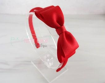 3 Set Burgundy Wine Red Headband Girls Kids Small Hair Bow Slides Gripes School Uniform Colours Grosgrain Ribbon alice band