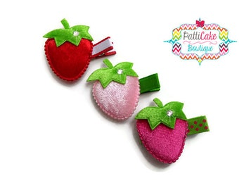 Strawberry Hair Clip/Girls Hair Clip/Toddler Hair Clip/Hair Barrette/Strawberry Hair Clips for Pigtails/Baby Girls Hair Clips