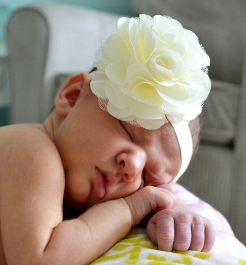 baby babies HEADBAND HEADBANDS Christening Wedding Xmas white ivory large flower