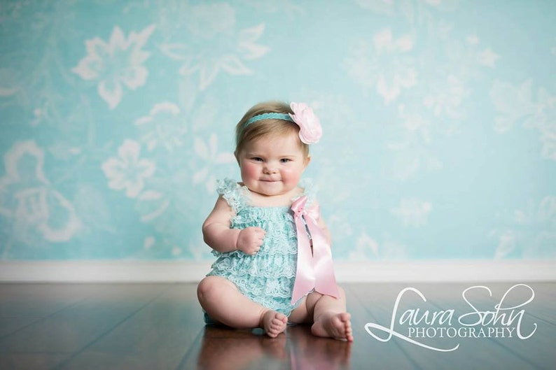 4aa4d4f9b38 Aqua Lace Romper Baby Girl Baby Lace Romper Baby Girl Lace