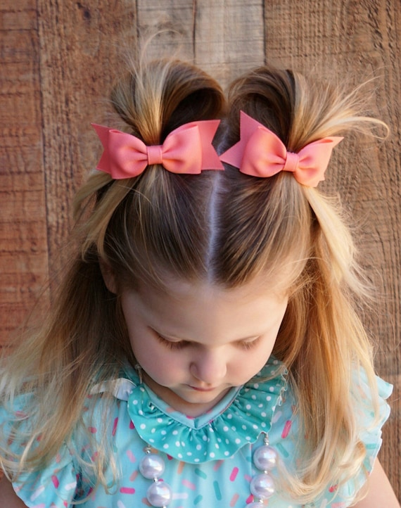 """BLUE 3.5/"""" GLITTER HAIR BOW HAIR CLIP MULTI PINK MINT YELLOW AND WHITE CORAL"""
