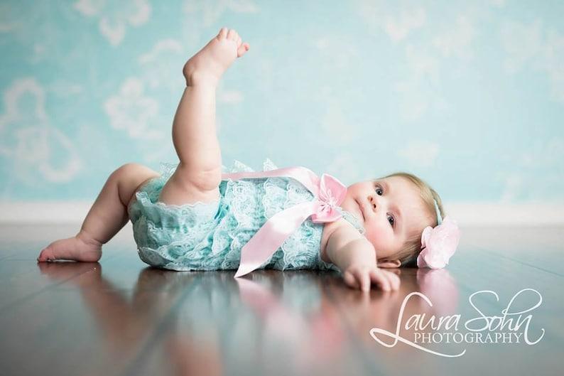 f9c7763d1bd Baby Girl Romper Aqua Lace Romper Baby Romper for Girls Coming