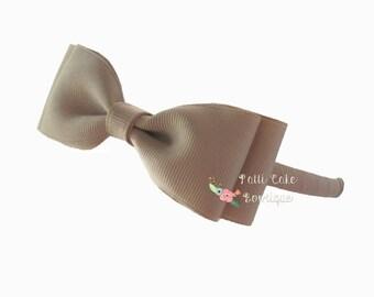 First Day of School Khaki Bow Headband/Back-to-School Uniform Khaki Hair Bow on Hard Headbands/Khaki Headband/Toddler Headbands