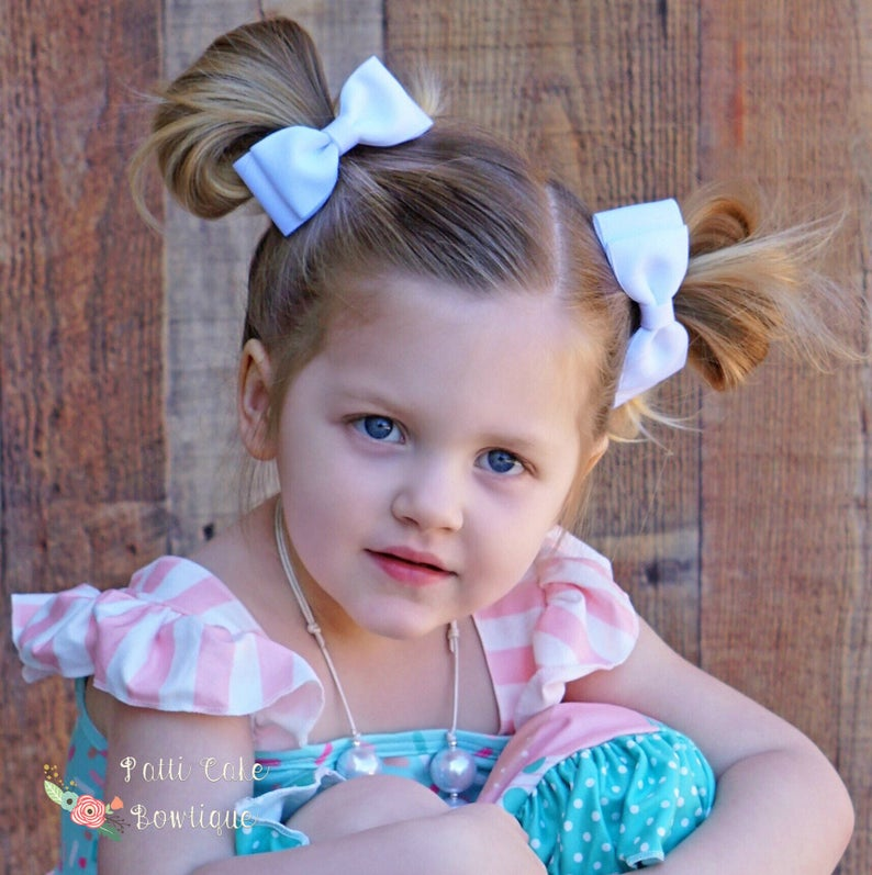 69191d654b78c Girls White Hair Bow White Bows White Baby Bows White Bow for