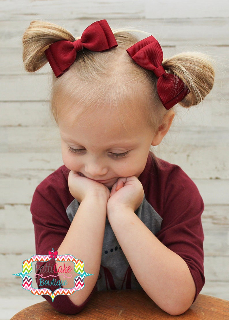 christmas baby headband Red baby bow burgundy toddler hair clip baby red dress hairbow