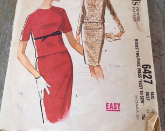 Vintage McCall's Sewing Pattern 6427 Misses' Two Piece Dress Size 14 Bust 34