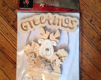 Vintage Holiday Time Wood Craft Project Greetings Christmas Holiday Moose