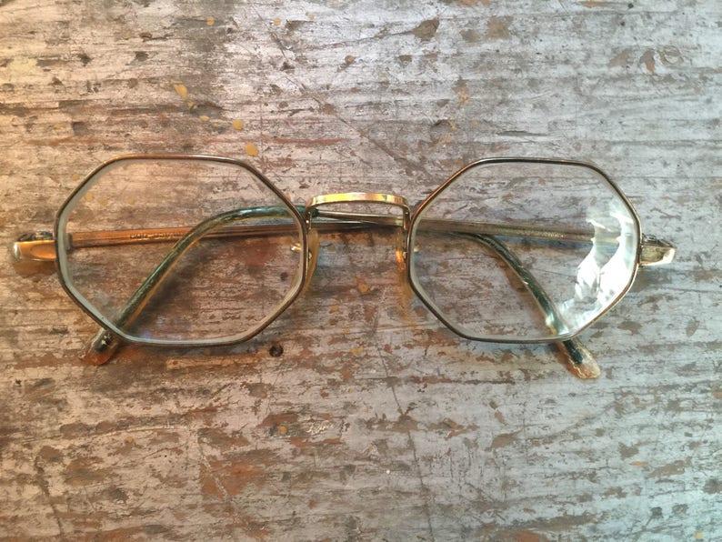3a9ed1aadca Vintage Octagon Polygon 10 KGF Gold Glasses