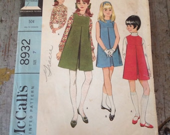 Vintage McCall's Sewing Pattern 8932 Girls' Dress Jumper and Blouse Size 7