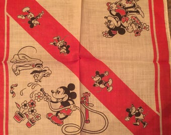Vintage 1930's Walt Disney Mickey Minnie Mouse Comic Hankie Handkerchief Child's