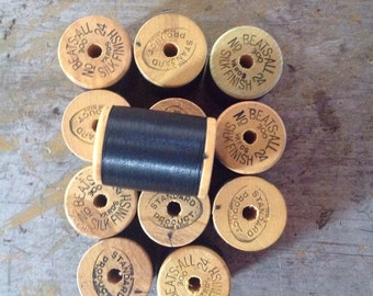 Vintage 12 Wooden Spools of Beats-All Silk Finish Thread 300 Yards Each
