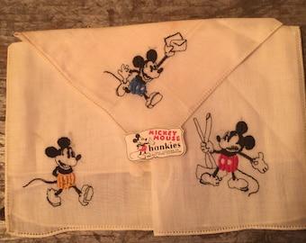 Vintage 1930's Walt Disney Mickey Mouse Comic Hankie Handkerchief Child's Set of Three
