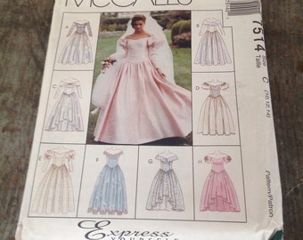 Vintage McCall's Sewing Pattern 7514 Misses' Size C 10 12 14 Wedding Dress Bridesmaid Gown
