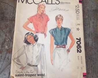 Vintage McCall's Sewing Pattern 7062 Misses' Size 14 Bust 36 Blouses