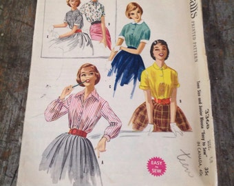 Vintage McCall's Sewing Pattern 3368 Misses' Size 13 Bust 33 Blouse
