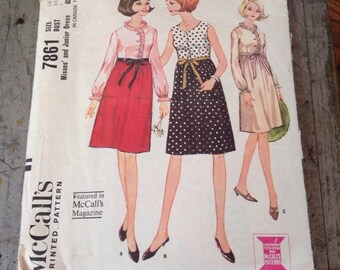 Vintage McCall's Sewing Pattern 7861 Misses' and Junior Dress Size 14 Bust 34