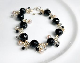 Black Onyx Cluster Bracelet // Multi Gemstone Bracelet // Gold Filled // Unique Bracelet // Fancy Bracelet // Gift For Her
