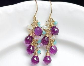 Magenta Quartz Cluster Earrings // Gemstone Clusters // Gold Filled // Gift For Her // Unique Earrings // Ethiopian Opal Earrings // OOAK