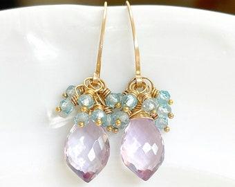 Pink Amethyst & Blue Zircon Cluster Earrings // Gold Filled // Gift For Her // Gemstone Earrings // Fancy Earrings // Dainty Earrings