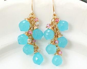 Aqua Blue Chalcedony Cluster Earrings // Gold Filled // Multi Gemstone Dangles //  Artisan Made // Gift For Her
