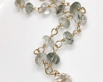 Green Rutilated Quartz 14k Gold Filled Wire Wrap and Silver Quartz Briolette Charm Handmade Hook and Eye Clasp Everyday Wear Gift for Her