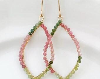 Tourmaline Hoops // Gold Filled // Gemstone Earrings // Watermelon Tourmaline // Artisan Jewelry // Gift For Her