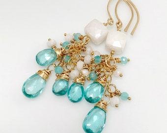 Multi Gemstone Cluster Earrings // Gold Filled // Apatite, Silverite & Amazonite Dangles // Gift For Her // Artisan Made