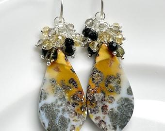 Marcasite Plume Agate Earrings // Sterling Silver // Unique Earrings // Gift For Her // OOAK Earrings // Cluster Earrings // Unique Gems