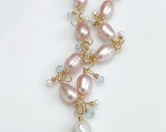 Pink Freshwater Pearl Bracelet // Gold Filled // Gemstone Bracelet // Keshi Pearl Bracelet // Unique Bracelet // OOAK Bracelet // Gift Idea