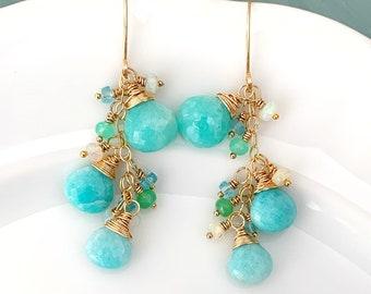Aqua Blue Gemstone Cluster Earrings // Gold Filled // Amazonite // Ethiopian Opal // Chrysoprase // Apatite // Gift For Her // Artisan Made