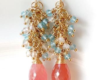 Rhodochrosite Cluster Earrings // Gemstone Dangles // Gold Filled // Gift For Her // Artisan Made