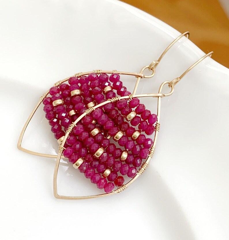 Ruby Hoop Earrings  Gold Filled  Ruby Earrings  Gemstone Hoops  Artisan Earrings  Gift For Her  Red Earrings