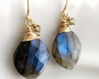 Flashy Labradorite Dangles // 14k Gold Filled // Gemstone Dangles // Gift For Her // Artisan Made