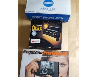 3 Vintage Cameras: Keystone Everflash 10, Kodak disc 8000 Camera Outfit, Minolta Pocket AutoPak (1970s and 1980s)
