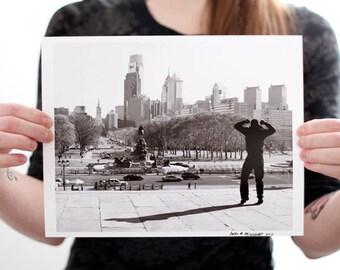 Philadelphia Champion Photograph (8 x 10 inch Fine Art Print) Black & White Philly Skyline Home Decor