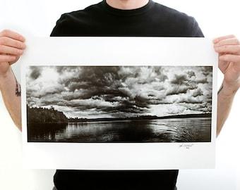 Cloud View on Folsom Pond, Maine (7 1/2 x 18 Fine Art Print) Black & White Landscape Photograph