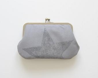 kisslock wallet. star. grey purse. women's wallet. hand stenciled