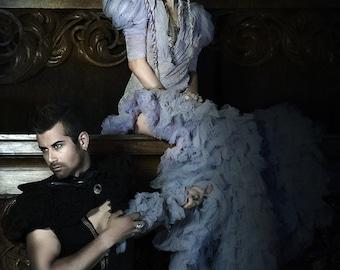 Steampunk Victorian Wedding Dress Gown Gothic Fantasy Fashion Grey Mauve. Hand dyed wedding dress -Chrisst Unique Fashion SPECIAL ETSY PRICE