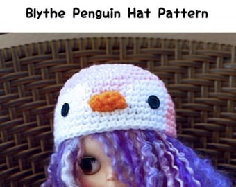 Blythe Penguin Hat Crochet Pattern, Penguin Blythe Doll Hat Pattern, Blythe Doll Penguin Hat Pattern, Penguin Blythe Hat Crochet Pattern