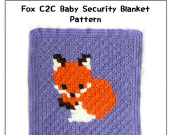 Fox C2C Baby Blanket Pattern | Fox Baby Security Blanket Pattern | Corner to Corner Fox Blanket Graph | PDF Crochet Pattern