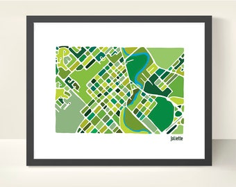 Joliette Canada City Map - illustration originale impression
