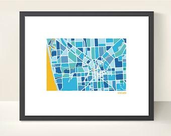 Adelaide Australia City Map - original Illustration print